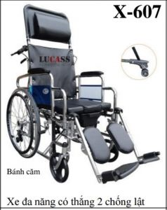 Xe lăn đa năng Lucass có chống lật, có ngã lưng và có bô vệ sinh