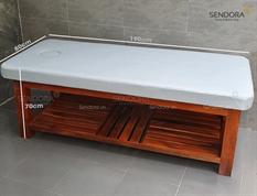 Giường gỗ spa, massage  có nệm, 3 màu: trắng, đen và nâu