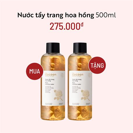 Nước Tẩy Trang Hoa Hồng Cocoon 500ml - Mua 1 Tặng 1
